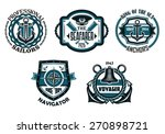 retro nautical emblems or... | Shutterstock .eps vector #270898721