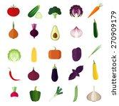 set of vegetables flat icons. | Shutterstock .eps vector #270909179