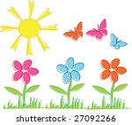 spring flowers and butterflies | Shutterstock .eps vector #27092266