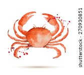 Watercolor Crab. Fresh Organic...