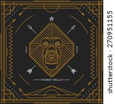 vintage thin line monkey label. ... | Shutterstock .eps vector #270951155