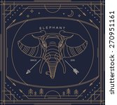 vintage thin line elephant... | Shutterstock .eps vector #270951161