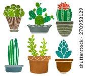 cacti set  succulents  home... | Shutterstock .eps vector #270953129