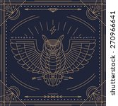 vintage thin line owl label.... | Shutterstock .eps vector #270966641