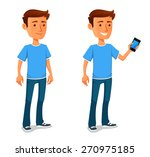 cool cartoon guy with cell phone | Shutterstock .eps vector #270975185
