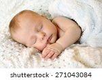 a sweet newborn infant girl is... | Shutterstock . vector #271043084