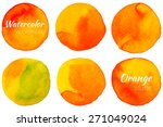 bright orange watercolor... | Shutterstock .eps vector #271049024