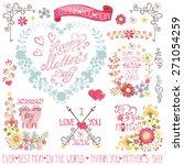 vintage floral card with floral ... | Shutterstock .eps vector #271054259