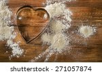 flour and heart shaped cookie...   Shutterstock . vector #271057874