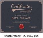 vector certificate template.   Shutterstock .eps vector #271062155