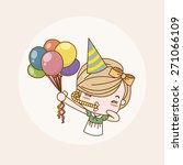 birthday party girl   lady  ... | Shutterstock .eps vector #271066109