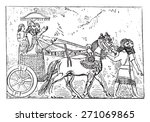 ashurbanipal on his chariot ...   Shutterstock .eps vector #271069865
