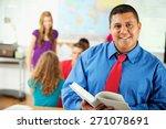high school  cheerful teacher... | Shutterstock . vector #271078691