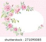 wreath of roses  watercolor ...   Shutterstock . vector #271090085