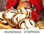 slices of romanian sponge cake ... | Shutterstock . vector #271090331