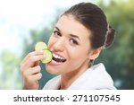 beautiful woman in bathrobe... | Shutterstock . vector #271107545