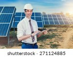 engineer at solar power station ... | Shutterstock . vector #271124885