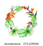 tropical leaves  exotic birds ... | Shutterstock . vector #271129034