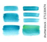 set of watercolor blue brush... | Shutterstock . vector #271130474
