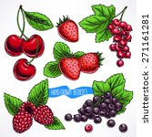 set with different ripe berries ... | Shutterstock .eps vector #271161281