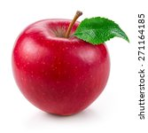 Small photo of Fresh red apple with leaf isolated on white.