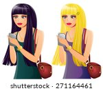 set of 2 young women on cell... | Shutterstock .eps vector #271164461