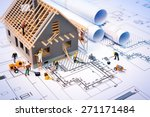 building house on blueprints... | Shutterstock . vector #271171484