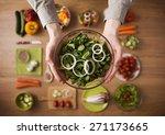 hands holding an healthy fresh...   Shutterstock . vector #271173665