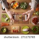 man holding a smart phone hands ... | Shutterstock . vector #271173785