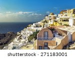village of oia with white cave... | Shutterstock . vector #271183001