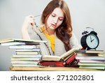 funny crazy  girl student with... | Shutterstock . vector #271202801