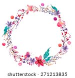 watercolor flower wreath... | Shutterstock .eps vector #271213835