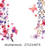 watercolor flowers background... | Shutterstock .eps vector #271214075