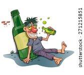 drunk man beside champagne... | Shutterstock .eps vector #271215851