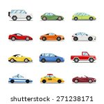 Stock vector vector cars collection vehicles in flat style on white background 271238171
