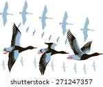 Vector Image Of A Flying Flock...