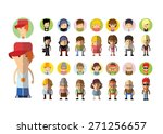 set of vector cute character... | Shutterstock .eps vector #271256657