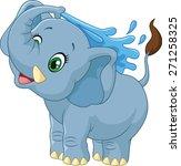 cartoon elephant spraying water | Shutterstock .eps vector #271258325