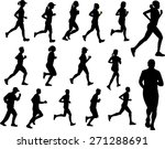people running silhouettes | Shutterstock .eps vector #271288691