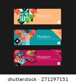 set of banners with stickers ... | Shutterstock .eps vector #271297151