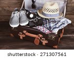 packed suitcase of vacation... | Shutterstock . vector #271307561