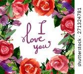 floral frame. watercolor... | Shutterstock .eps vector #271324781