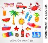 summer watercolor set | Shutterstock .eps vector #271329635