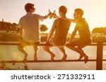 three friends drinking beer | Shutterstock . vector #271332911