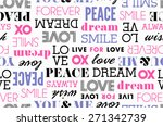 peace love word stack seamless | Shutterstock .eps vector #271342739