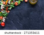 mixed salad and oil on... | Shutterstock . vector #271353611
