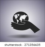 icon of globe in the hand | Shutterstock .eps vector #271356635