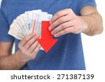 man holding money and red arrow ... | Shutterstock . vector #271387139