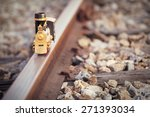 vintage train toy model on rail.... | Shutterstock . vector #271393034