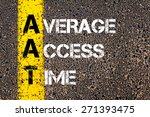 Small photo of Business Acronym AAT as Average Access Time. Yellow paint line on the road against asphalt background. Conceptual image